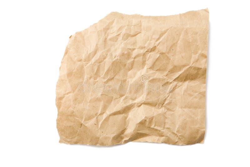 Stück zerquetschtes Brown-Papier lizenzfreie stockbilder