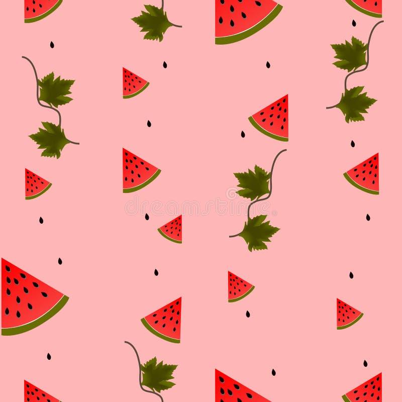 Stücke, Blätter und Samen der Wassermelone auf Rosa, nahtlos, Hintergrund stock abbildung