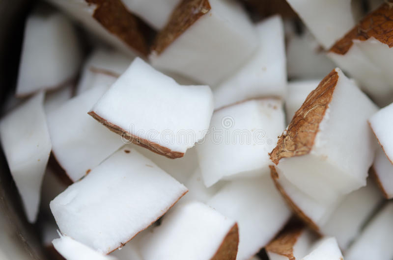 Stücke der Kokosnuss stockbild