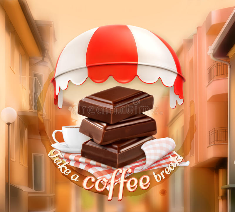 Stücke der Schokolade und des Tasse Kaffees lizenzfreie abbildung