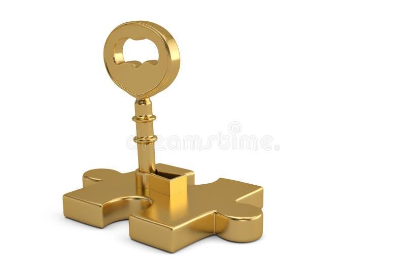 Stücke des goldenen Schlüssels und des Puzzlespiels auf weißem Hintergrund Abbildung 3D vektor abbildung