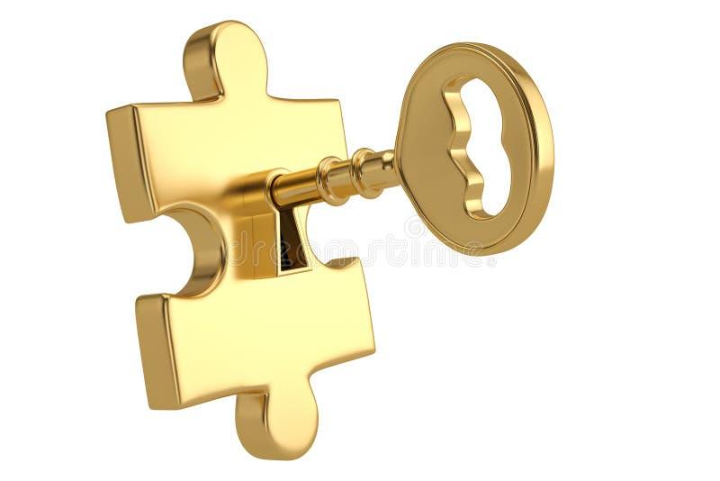 Stücke des goldenen Schlüssels und des Puzzlespiels auf weißem Hintergrund Abbildung 3D lizenzfreie abbildung