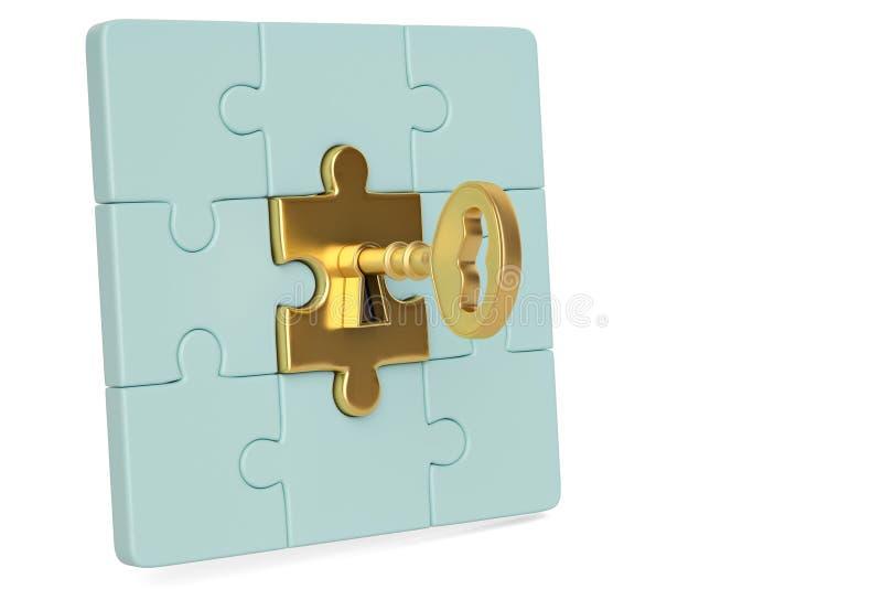 Stücke des goldenen Schlüssels und des Puzzlespiels auf weißem Hintergrund Abbildung 3D stock abbildung