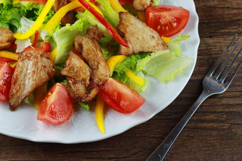 Stücke des Huhns mit Reis, Pfirsich und Petersilie in der weißen Schüssel getrennt auf weißem Hintergrund lizenzfreie stockfotografie