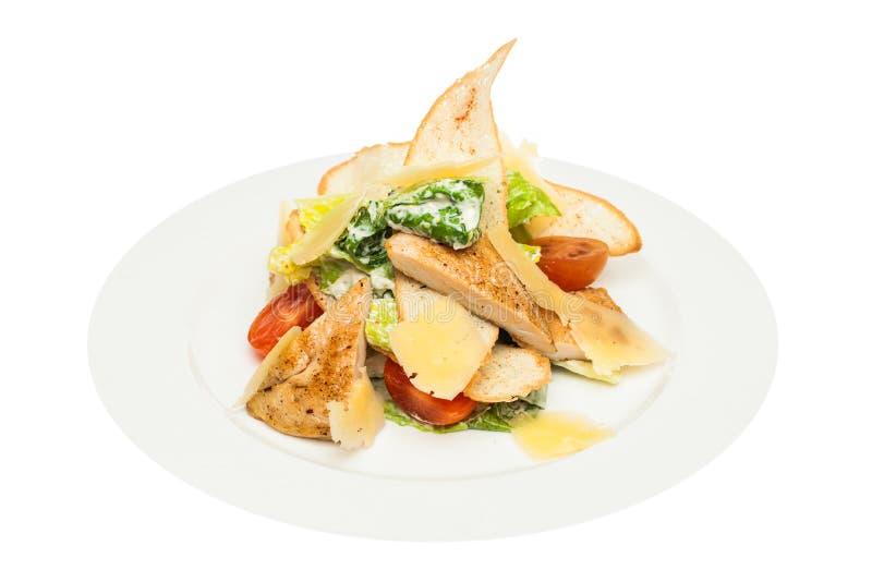 Stücke des Huhns mit Reis, Pfirsich und Petersilie in der weißen Schüssel getrennt auf weißem Hintergrund Huhn Caesar Salad Caesa stockfotografie