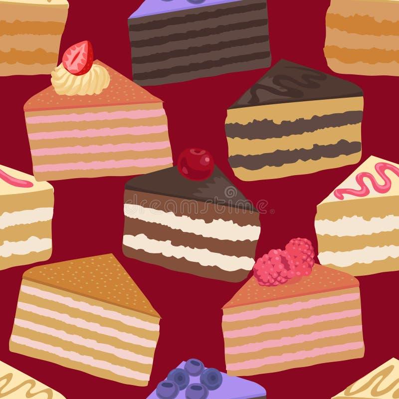 Stücke des nahtlosen Musters des Kuchens lizenzfreie abbildung