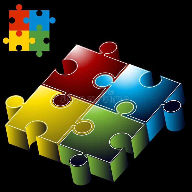 Stücke des Puzzlespiel-3D lizenzfreie abbildung