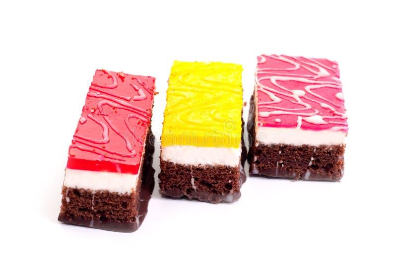 Stücke des Schokoladenkuchens lizenzfreies stockfoto