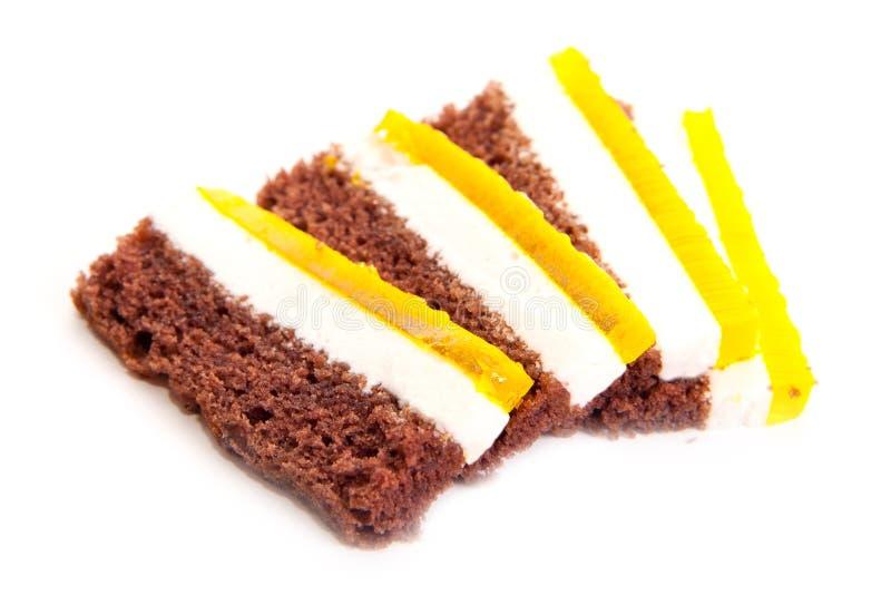 Stücke des Schokoladenkuchens stockfotografie