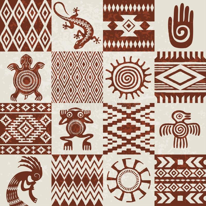 Stücke ethnische Muster und Symbole der Indianer vektor abbildung