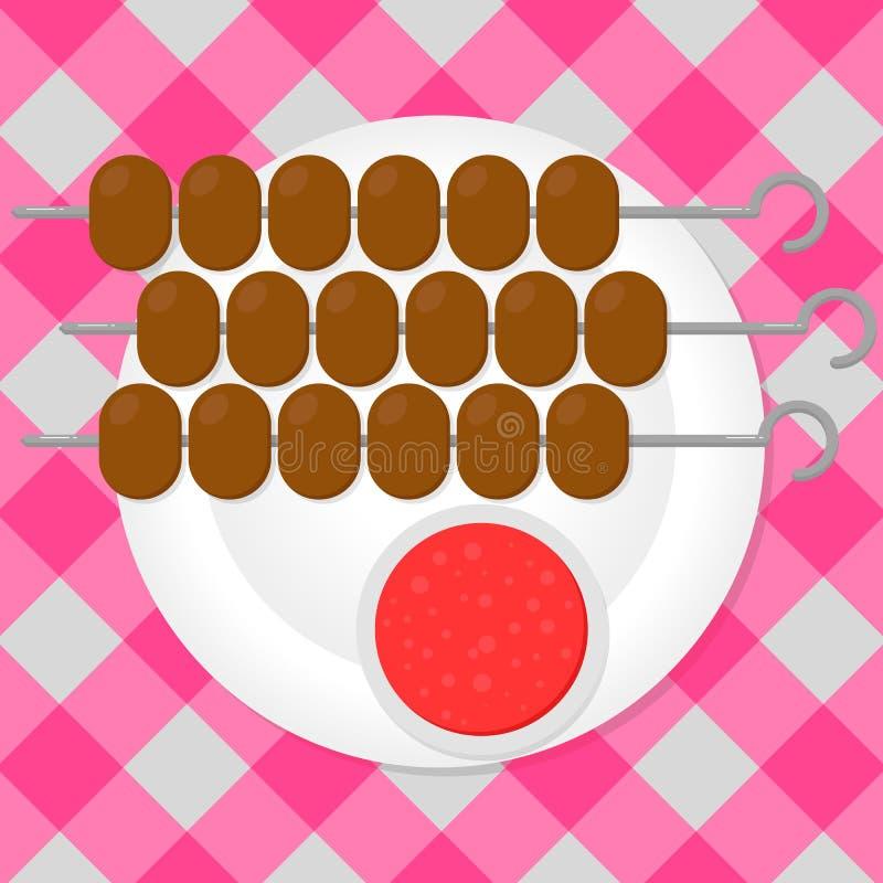 Stücke Fleisch auf einer Aufsteckspindel Grill, Grill, shashlik, Kebab Auf einer weißen Platte Die Tischdecke im Kasten Selbst ge vektor abbildung