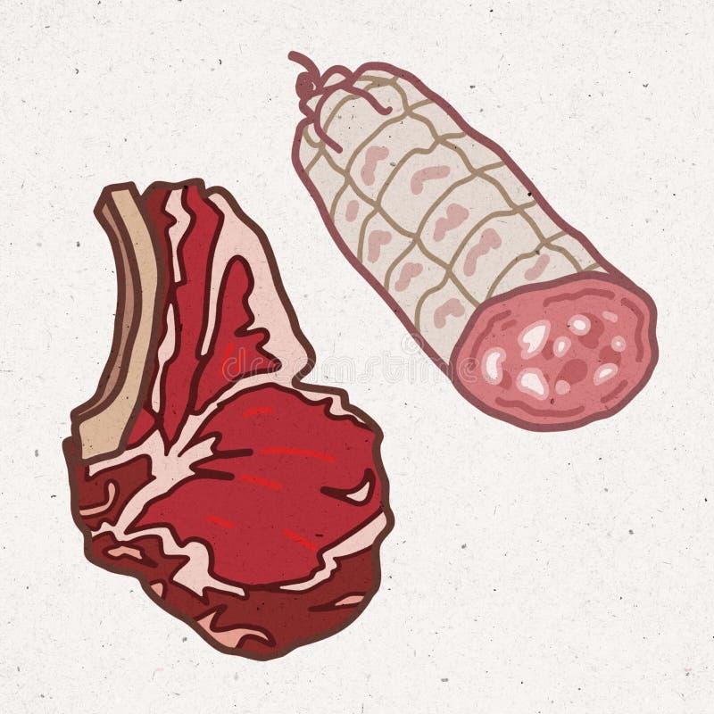 Stücke Fleisch - Rindfleisch und Schweinefleisch stock abbildung