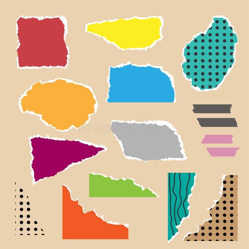 Stücke heftige bunte Papiere mit Gekritzeln Flache Vektorillustration Stellen Sie von den Collagenelementen ein lizenzfreie abbildung