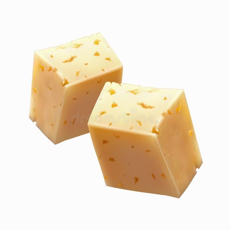 Stücke Käse lizenzfreie abbildung