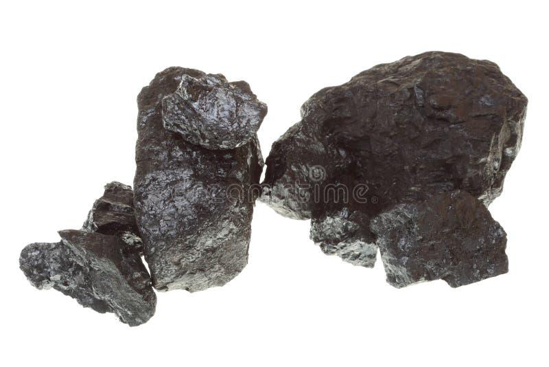 Stücke Kohle lokalisiert auf weißem Hintergrund lizenzfreie stockfotos
