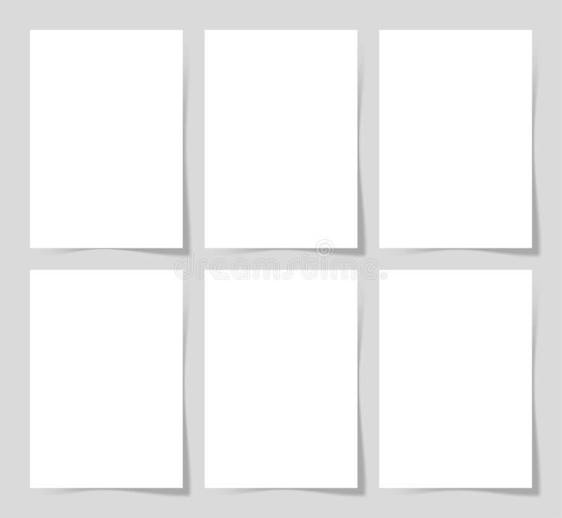6 Stücke löschen Blatt A4 des Weißbuches mit dem Schatten für Ihr lizenzfreie abbildung