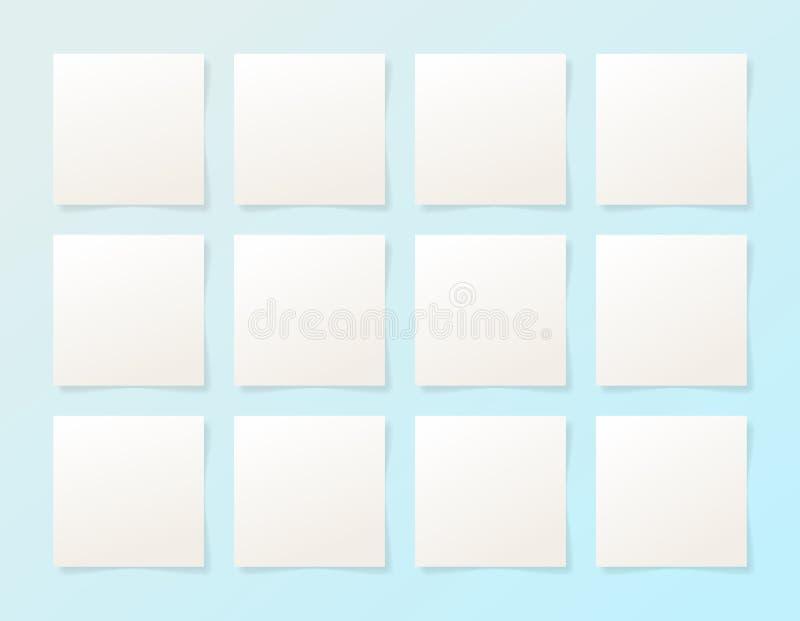 12 Stücke Leerbeleg des Weißbuches mit dem Schatten vektor abbildung