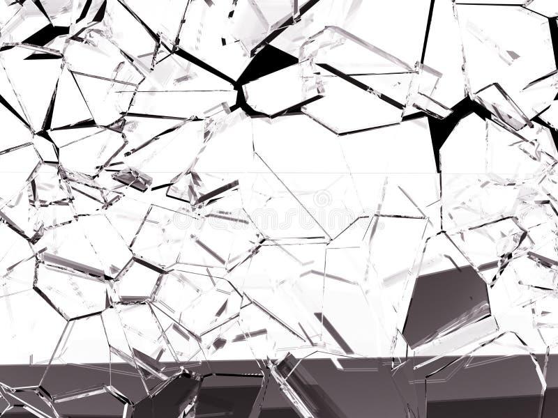 Stücke splitted oder gebrochenes Glas auf Schwarzem stock abbildung
