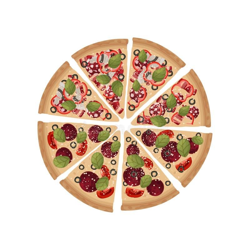 Stücke von zwei Arten Pizza werden in einem ganzen Kreis gefaltet Vektorabbildung auf wei?em Hintergrund lizenzfreie abbildung