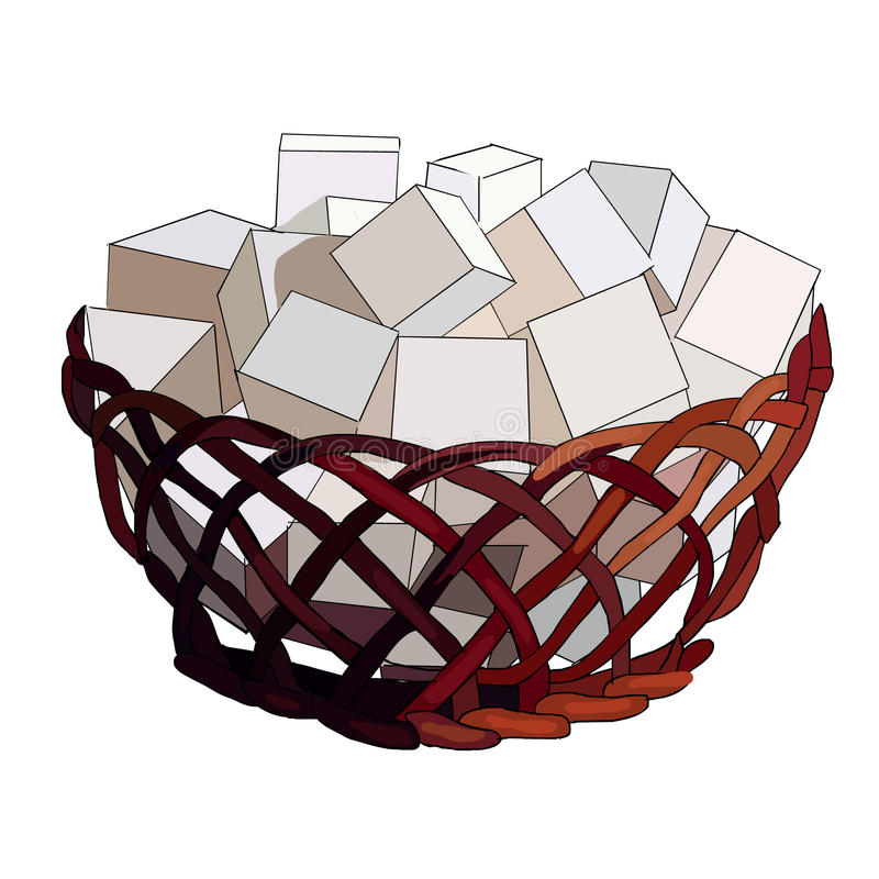 Stücke Zucker im hölzernen Rohrzucker rollen Dekor für die Küche Bonbons für Tee Süßer Kaffee Strohvase Würfel des Zuckers Vektor lizenzfreie abbildung