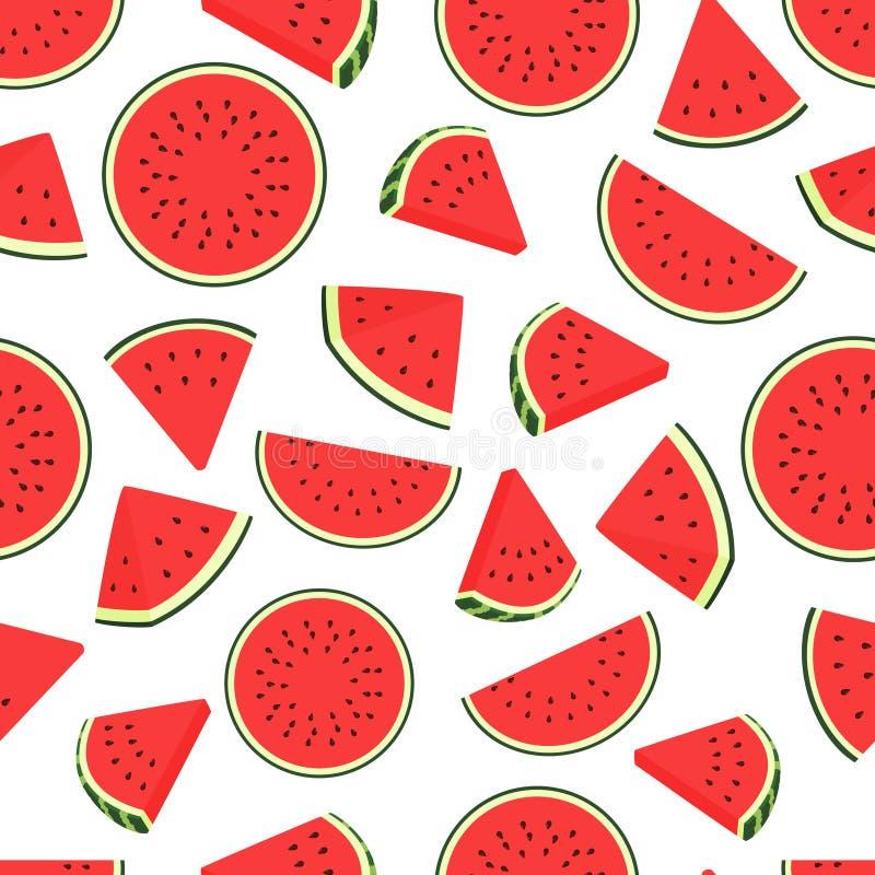 Stückwassermelonenmuster Transparentes Muster der nahtlosen Wassermelonen Vektorhintergrund mit Wassermelonenscheiben vektor abbildung