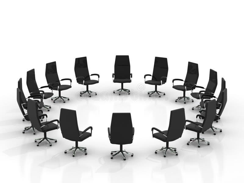 Stühle, die ringsum große Gruppe anordnen vektor abbildung