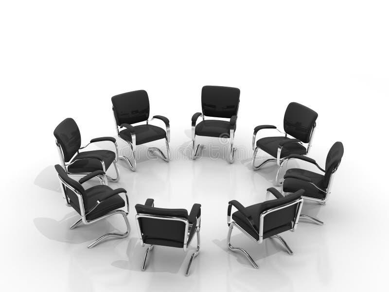 Stühle, die ringsum kleine Gruppe anordnen vektor abbildung