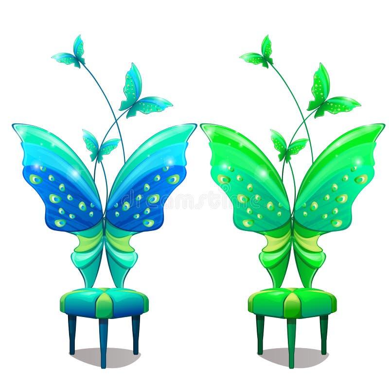 Stühle mit Schmetterling-förmiger Rückseite Blaues und grünes Teil Innenmöbel in der Märchenkarikaturart Vektor lizenzfreie abbildung