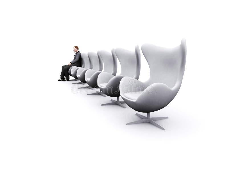 Stühle und Geschäftsmann vektor abbildung