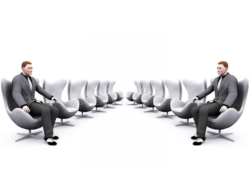 Stühle und Geschäftsmann stock abbildung
