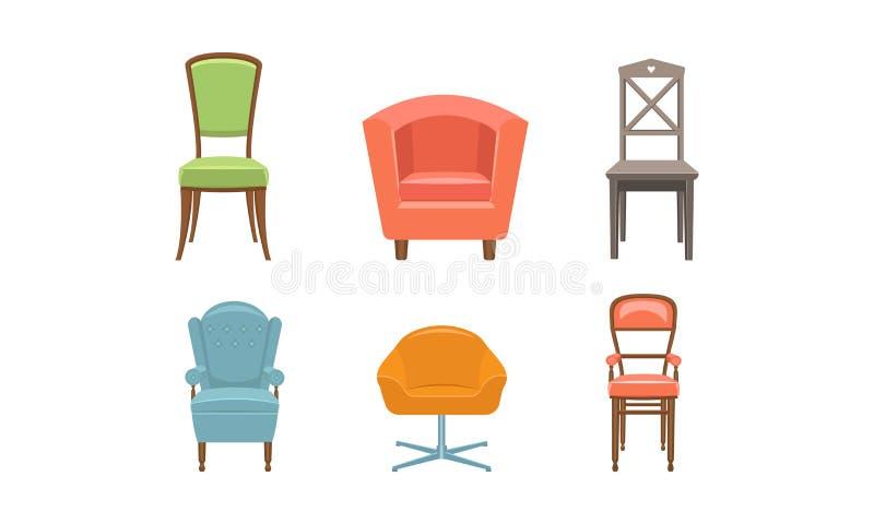 Stühle und Lehnsessel stellen ein, Retro- und moderne bequeme Möbelvektor Illustration auf einem weißen Hintergrund stock abbildung