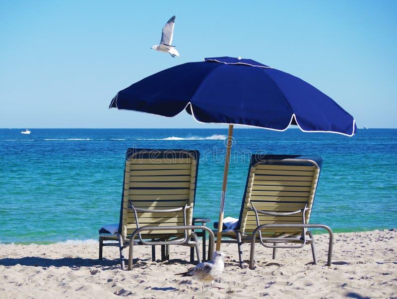 Stühle und Regenschirm auf dem Strand lizenzfreie stockfotografie