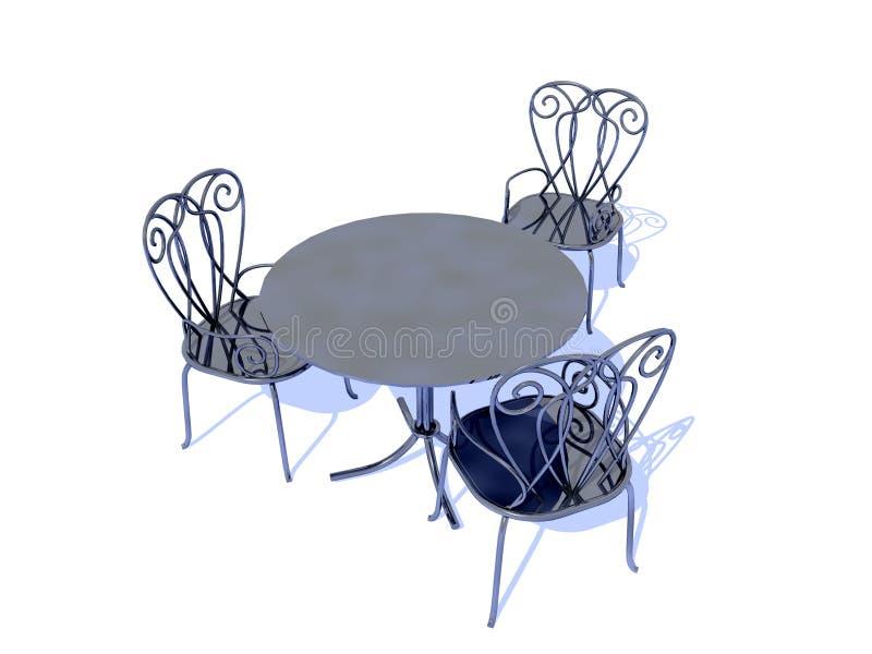 Stühle und Tabelle stock abbildung