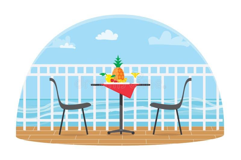 Stühle und Tabelle auf dem Terrassenbalkon in der Restaurant Ansicht über das Meer Wässern Sie Landscape Ananas Flacher Vektor vektor abbildung