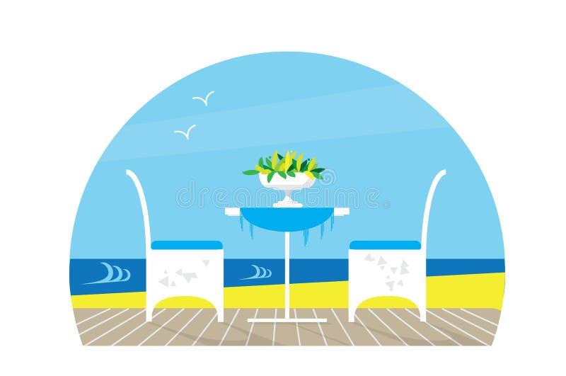 Stühle und Tabelle auf dem Terrassenbalkon in der Restaurant Ansicht über das Meer Wässern Sie Landscape Vase mit Blume flach stock abbildung
