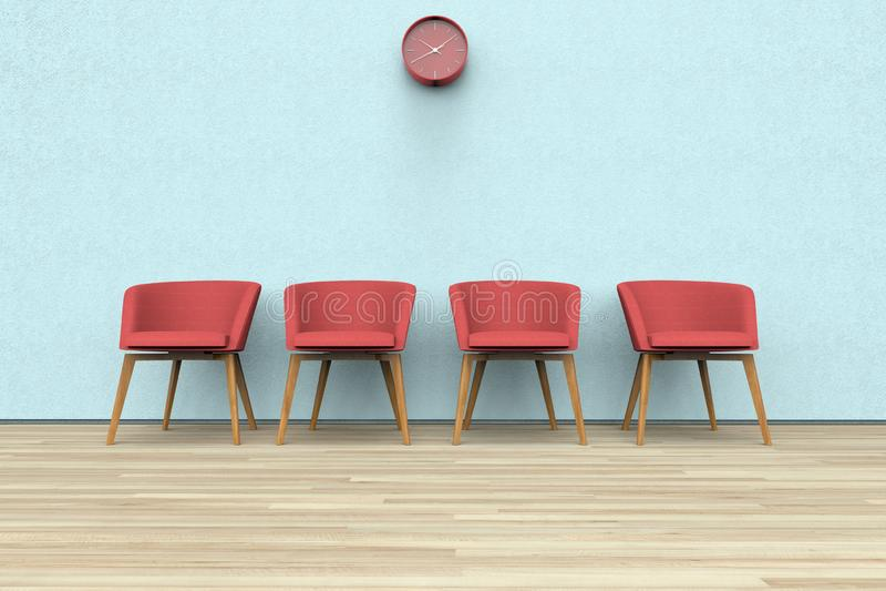 Stühle und Uhr in einem Warteraum stock abbildung