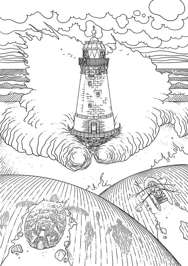 Stürmische Ozeanlandschaft vektor abbildung