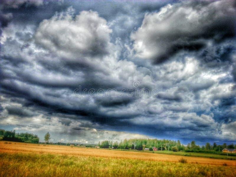 Stürmischer Himmel auf dem Feld lizenzfreie stockbilder