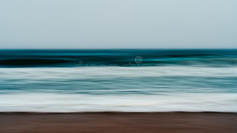 Stürmisches Meer, Dämmerung Abstrakter Hintergrund-Meerblick stock abbildung