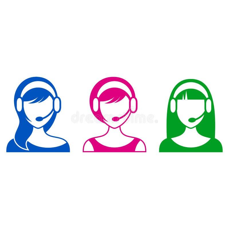 Stütz- oder Call-Center-Frauenikonen lizenzfreie abbildung