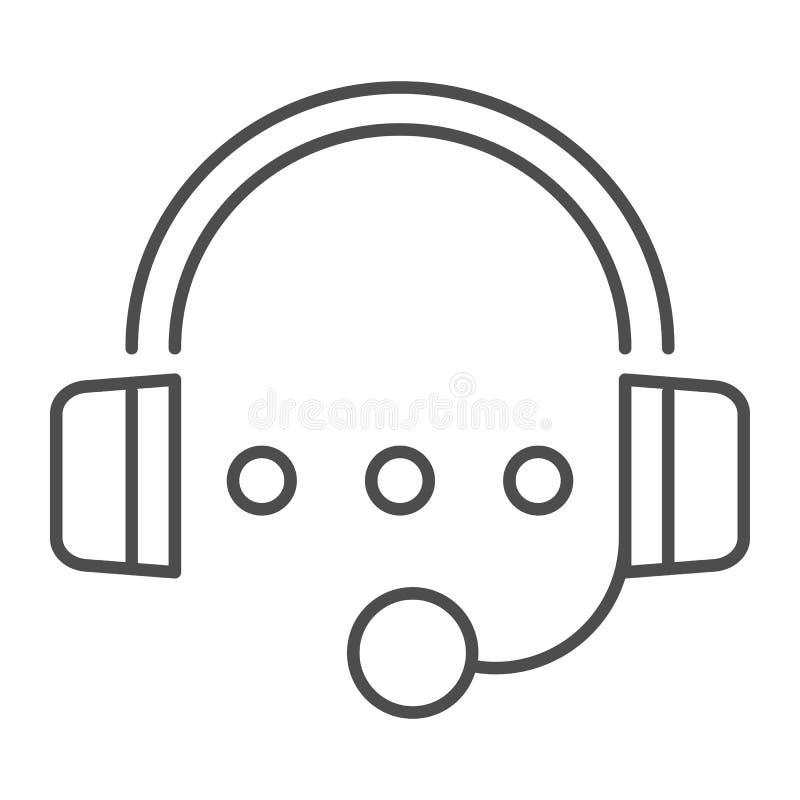 Stützdünne Linie Ikone Call-Center-Vektorillustration lokalisiert auf Weiß Kopfhörerentwurfs-Artentwurf, entworfen für stock abbildung