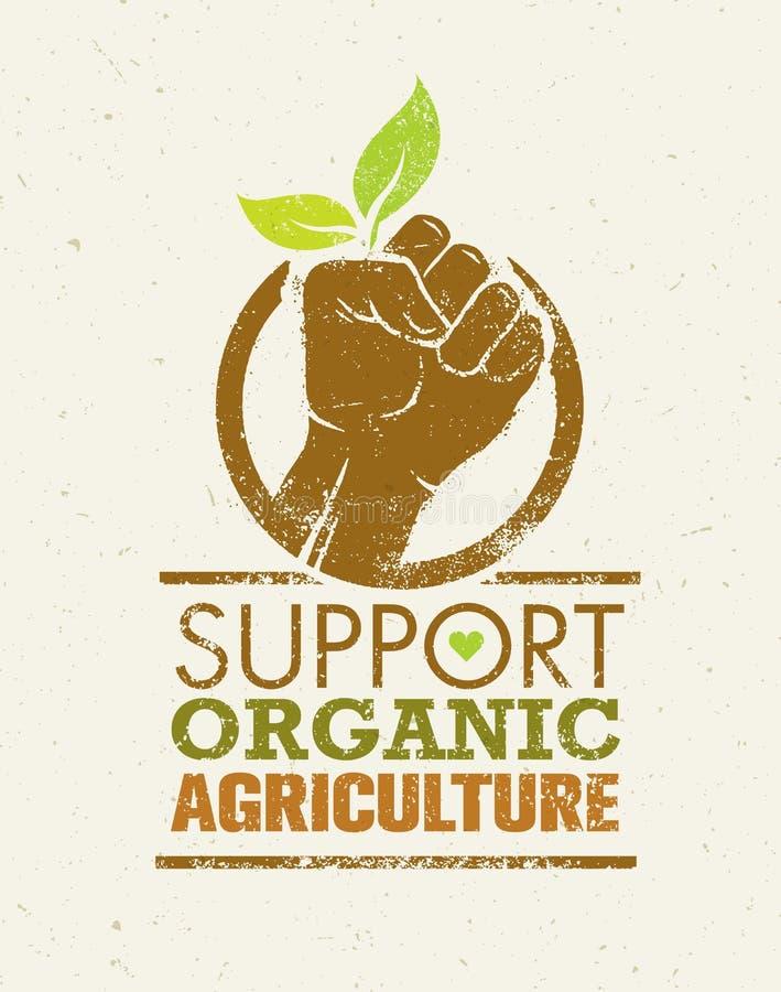 Stützeinheimisch-Landwirte Kreative organische Eco-Vektor-Illustration auf Recyclingpapier-Hintergrund stock abbildung