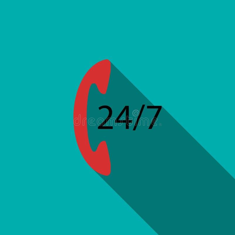 Stützen Sie Call-Center 24 Stunden der Ikone, flache Art lizenzfreie abbildung