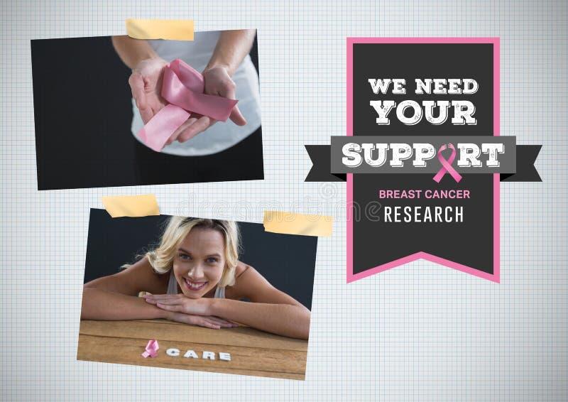 Stützen Sie Forschung Text und Brustkrebs-Bewusstseins-Foto-Collage stockbild