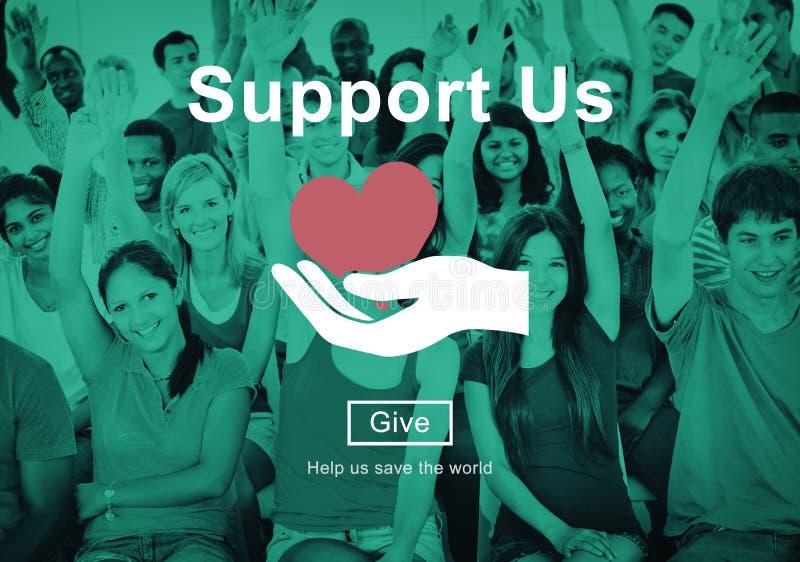 Stützen Sie uns Wohlfahrts-freiwilliges Spenden-Konzept lizenzfreie stockfotografie