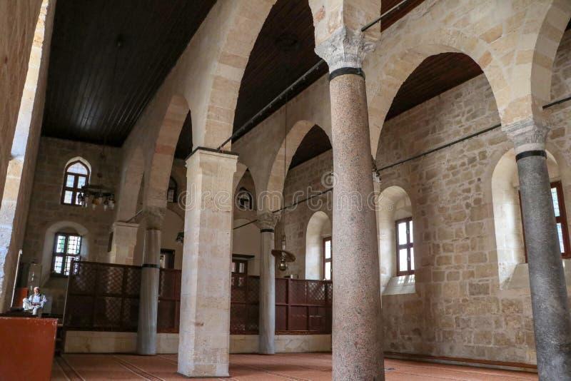 Stęp, Mersin, Turcja/, Czerwiec 12, 2019, stępa Ulu cami dziejowy meczet obraz stock