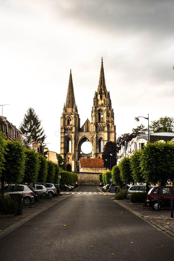 St吉恩des维格,苏瓦松,法国修道院  免版税库存照片