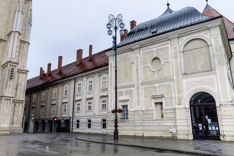 St在萨格勒布,克罗地亚指示正方形 免版税库存照片
