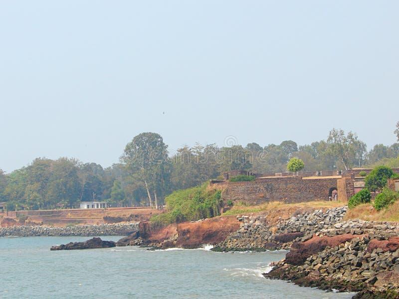 St安吉洛` s堡垒-在阿拉伯海附近的沿海堡垒, Kannur,喀拉拉,印度 库存照片