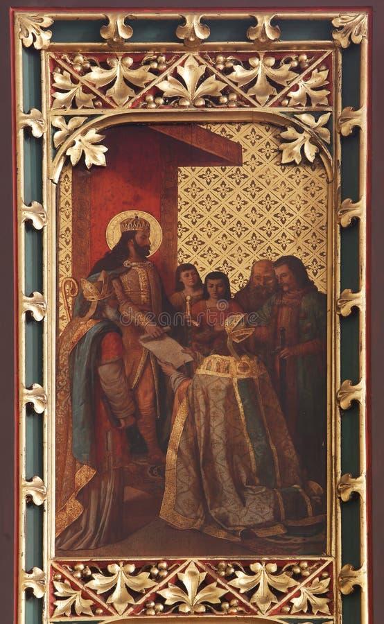 St拉迪斯劳斯旨令给萨格勒布的第一位主教 库存图片